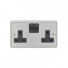 Eurolite Satin Stainless 13A 2Gang DP Switched Socket Black Rocker