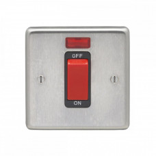 Eurolite Satin Stainless 45A 1Gang DP Cooker Switch & Neon SSS45ASWNSB