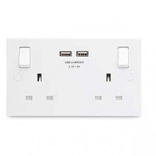 British General BG Electrical 922U Square White Plastic 2 Gang Socket 13A with 2 USB