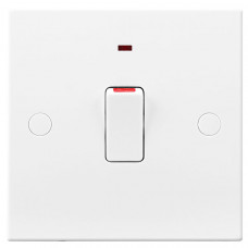 BG Electrical 931 White Double Pole Switch with Flex & Neon 20A