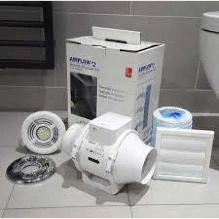 Quiet Bathroom Light Pull Switch: Airflow Aventa AV100T LED Extractor Fan Light Shower Kit
