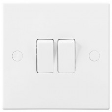 BG Electrical 942 White Light Switch 10 Amp 2 Gang 2 Way