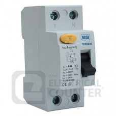 BG Electrical CUR80100 Double Pole Type AC Residual Current Device RCD