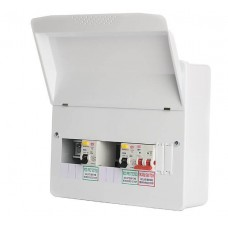 FuseBox Metal Consumer Unit Dual 80A RCD Incomers 6 Way F1006D8