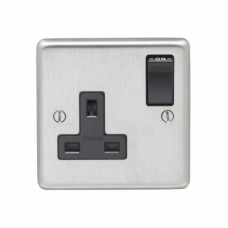 Eurolite Satin Stainless 13A 1Gang DP Switched Socket SSS1SOB