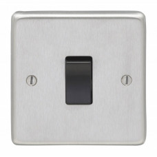 Eurolite Satin Stainless 1Gang 10A 2Way Switch Black Rocker SSS1SWB