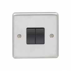 Eurolite Satin Stainless 10A 2Gang 2Way Switch SSS2SWB