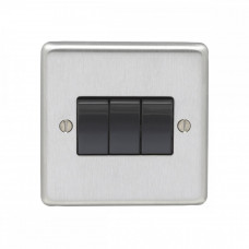 Eurolite Satin Stainless 10A 3Gang 2Way Switch Black Rocker SSS3SWB