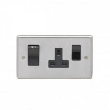 Eurolite Satin Stainless 45A 2Gang DP Switch & Socket SSS45ASWASB
