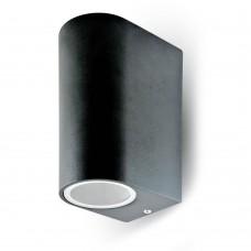 Up/Down Sleek Wall Fitting GU10 Aluminium Round Black 2 Way IP44