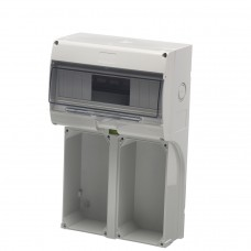 Europa Components IP65 DOUBLE SOCKET BACK BOX WITH DIN RAIL & WINDOW