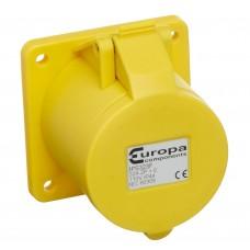 Europa Components IP44 SOCKET PANEL MOUNT 110V 2P+E 32A 4h
