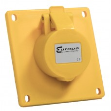 Europa Components IP44 SOCKET ANGLED PANEL MOUNT 110V 2P+E 16A 4h